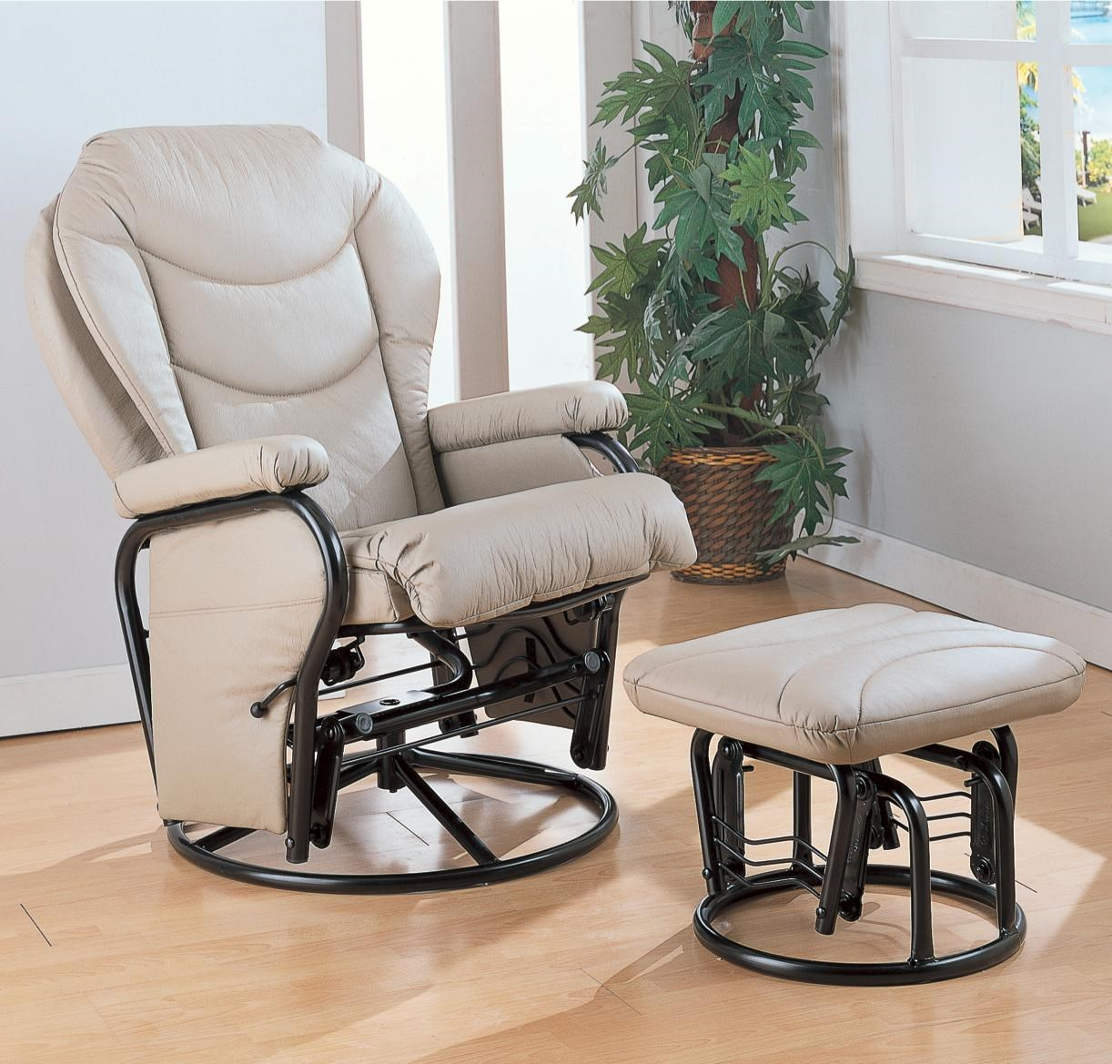 Coaster Recliners With Ottomans Glider Rocker With Round Base Ottoman