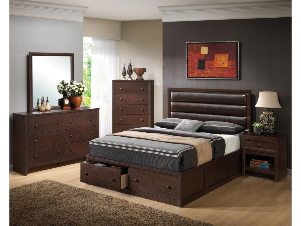 Shown in Room Setting with Dresser, Mirror, Chest, Nightstand and Bed