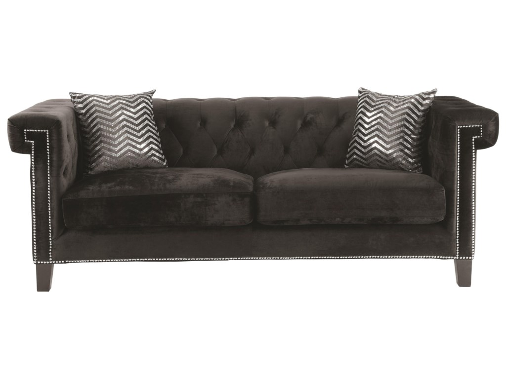 Reventlow Sofa With Greek Key Nailhead Trim Design By Coaster