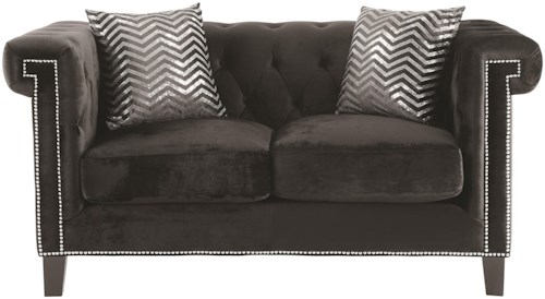 Coaster Reventlow Loveseat with Greek Key Nailhead Trim Design