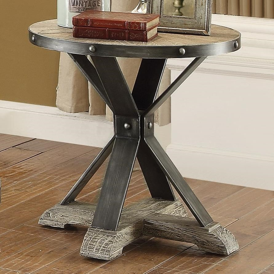 Coaster Rhett Round Industrial End Table   Dunk U0026 Bright Furniture   End  Tables