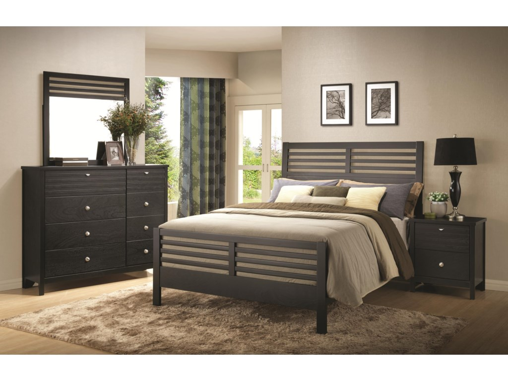 Shown with Nightstand, Dresser & Mirror