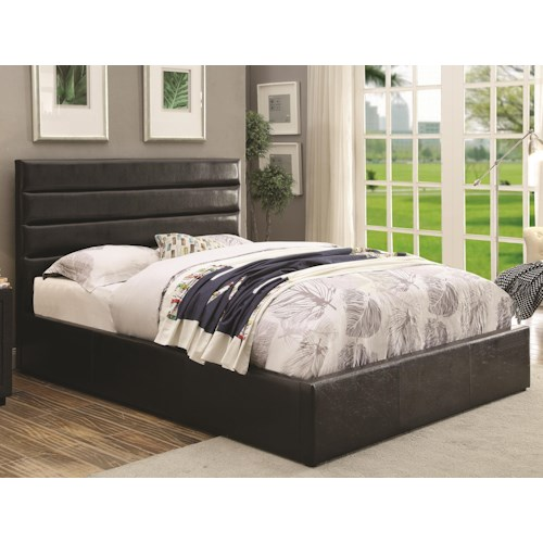 Coaster Riverbend Queen Black Leatherette Upholstered Bed with Lift Top Storage