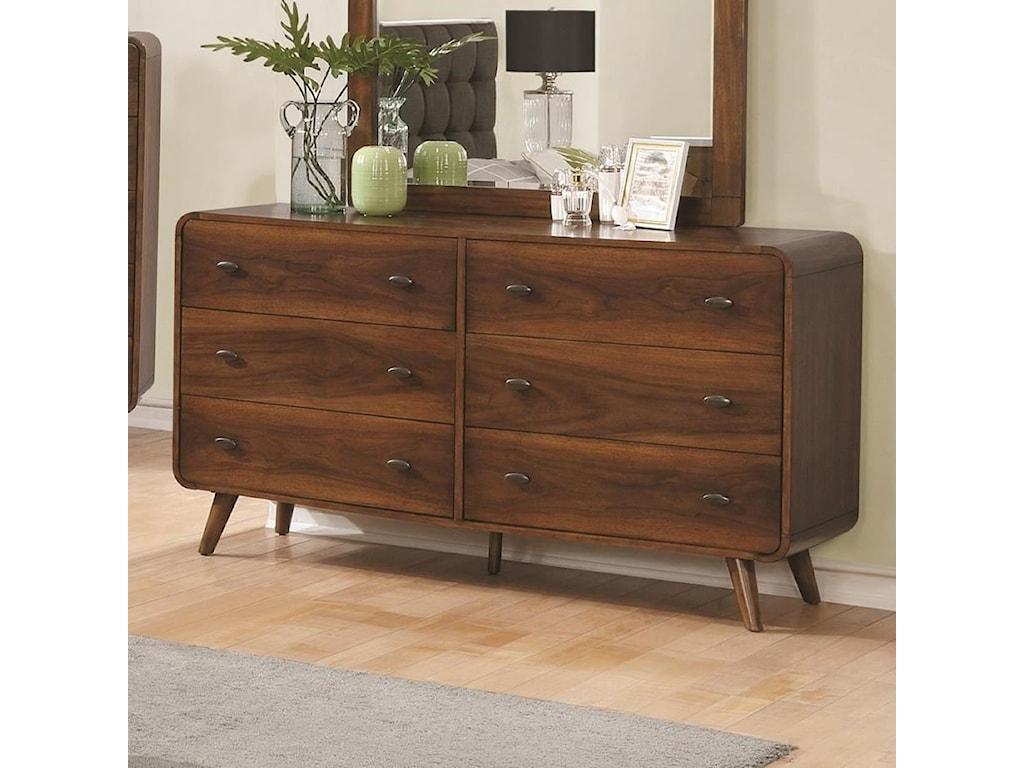 Robyn mid century modern 6 drawer dresser by coaster