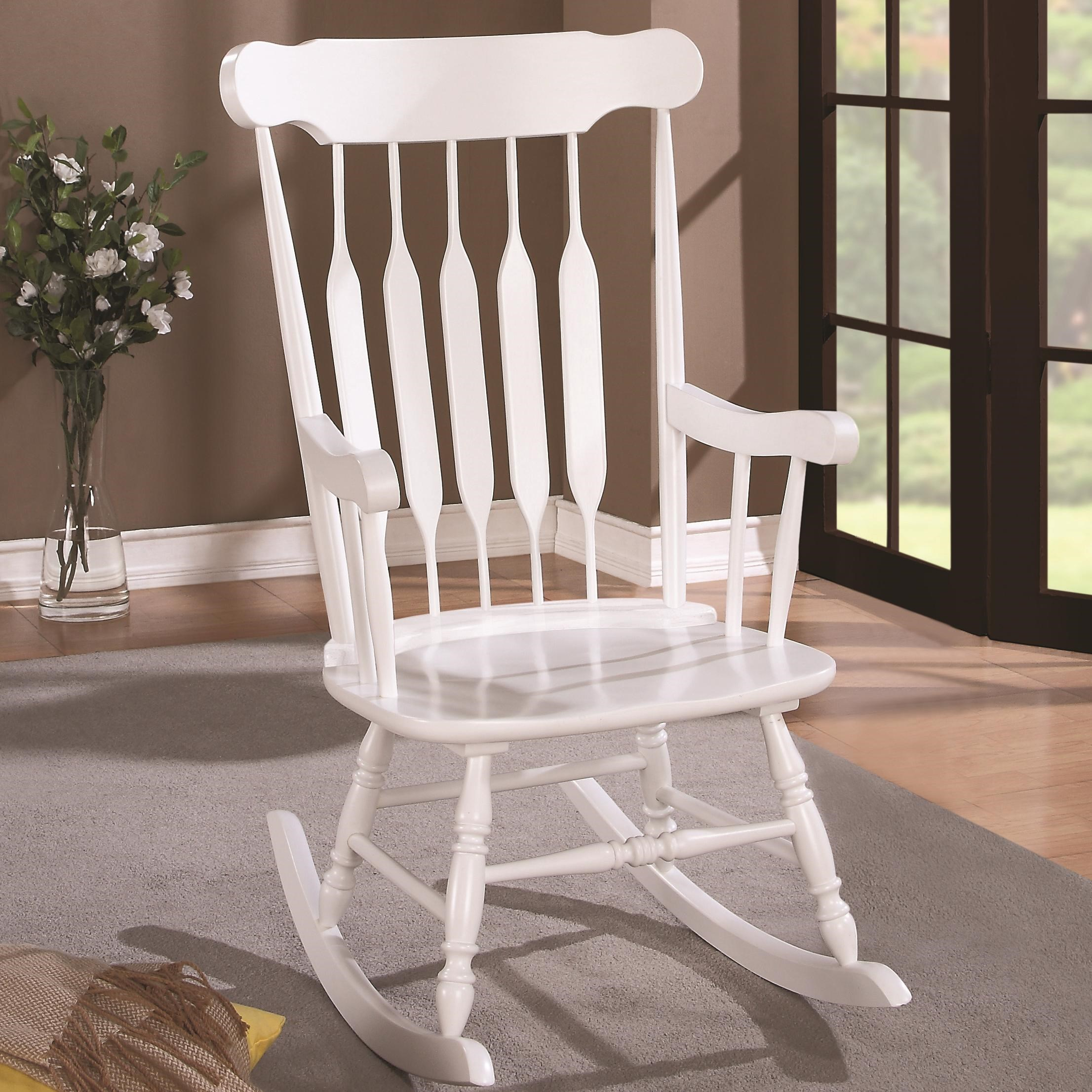 Wood Rocking Chair with White Finish and Slatted Back