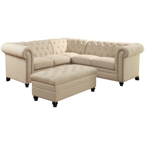 Sectional Sofas Birmingham Al: Coaster Roy Button-Tufted Sectional Sofa
