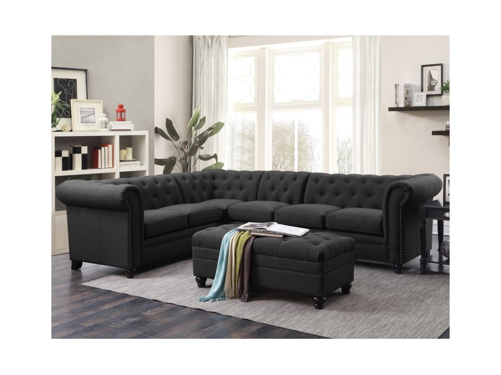 Coaster RoySectional Sofa with Armless Chair