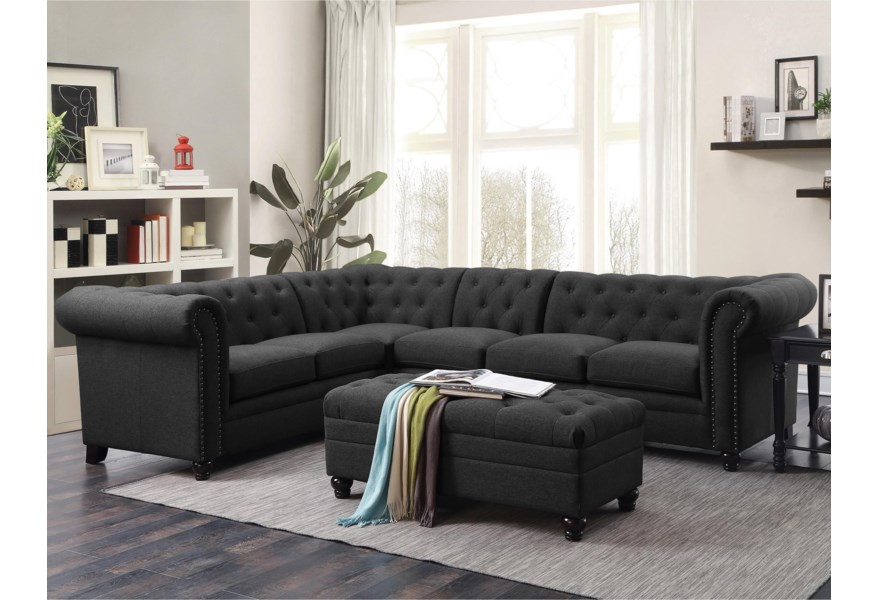 Roy Sectional Sofa with Armless Chair