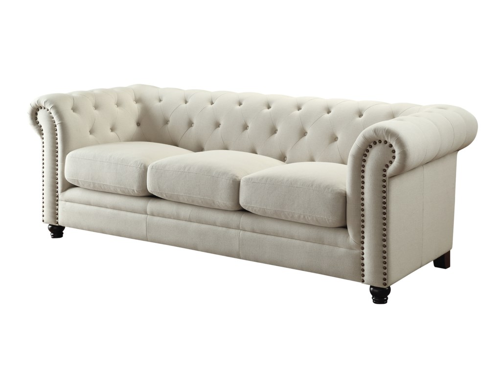 Button Couch Coaster Roy Traditional Button Tufted Sofa With Rolled Back And