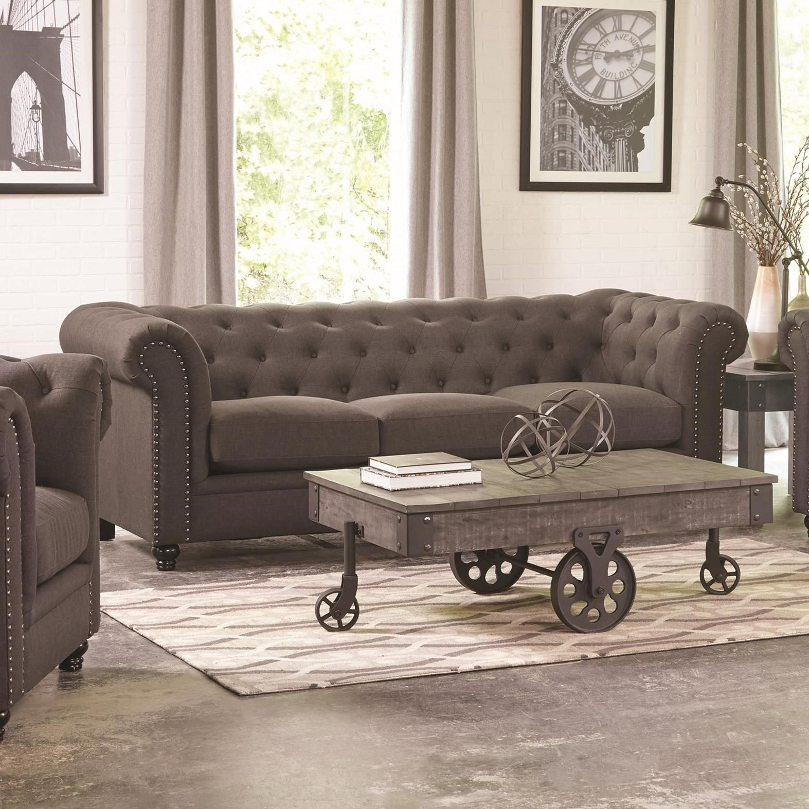 Coaster Roy Traditional Button Tufted Sofa With Rolled Back And Arms