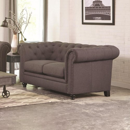 Coaster Roy Traditional Button-Tufted Love Seat with Rolled Back and Arms