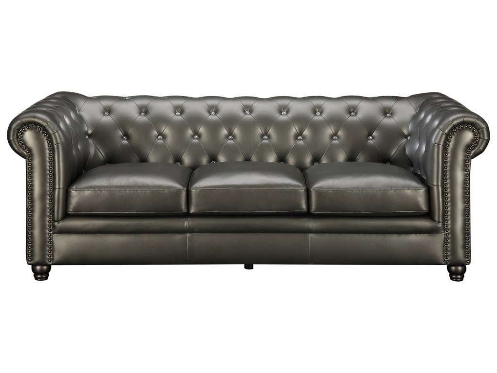 Coaster Roy 551091 Traditional On Tufted Sofa With Rolled Back And Arms Dunk Bright Furniture Sofas
