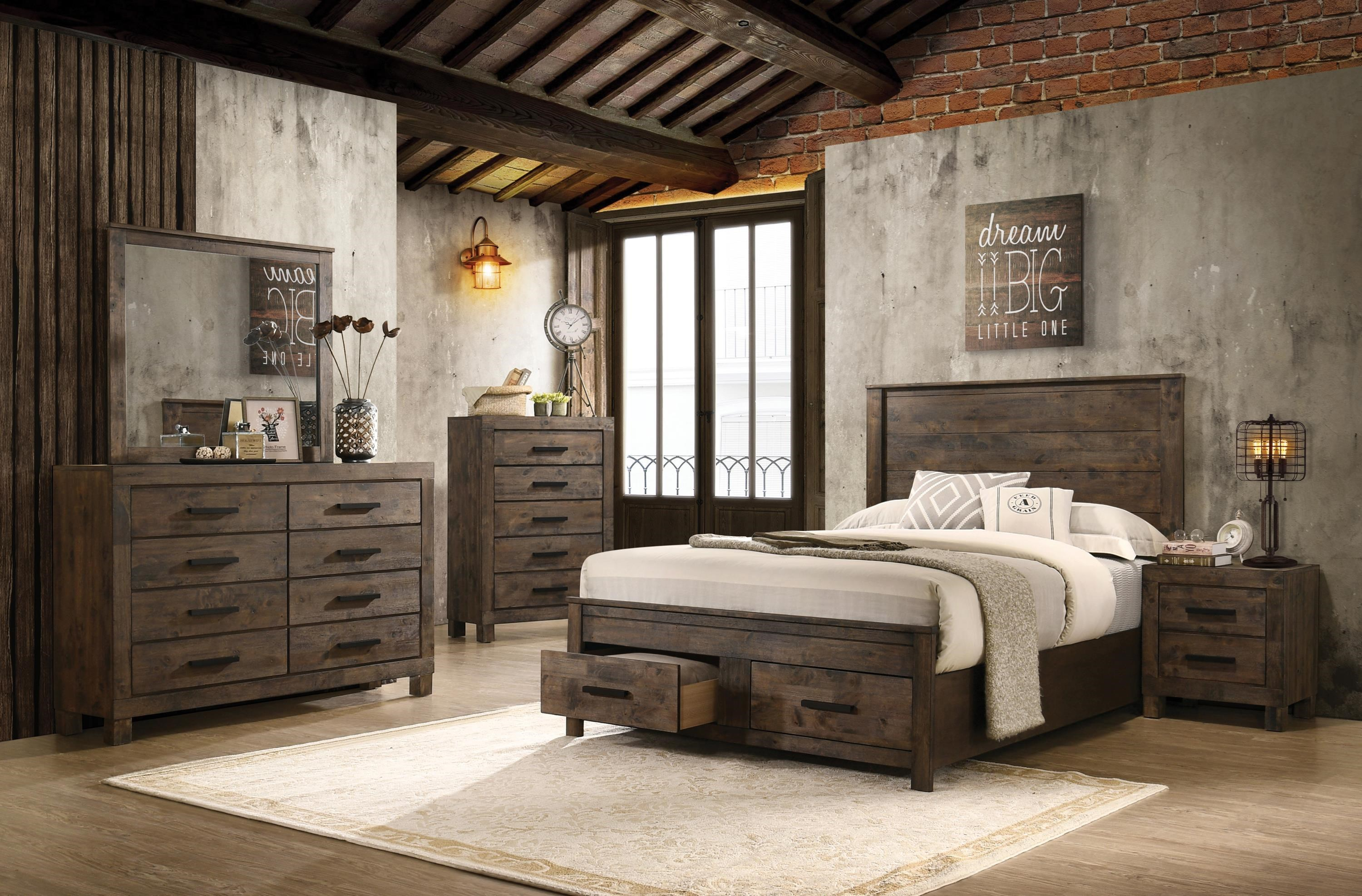 Coaster Rustic Brown 222631qb 2 3 4 5 7 Piece Queen Bedroom Set Sam Levitz Furniture Bedroom Groups