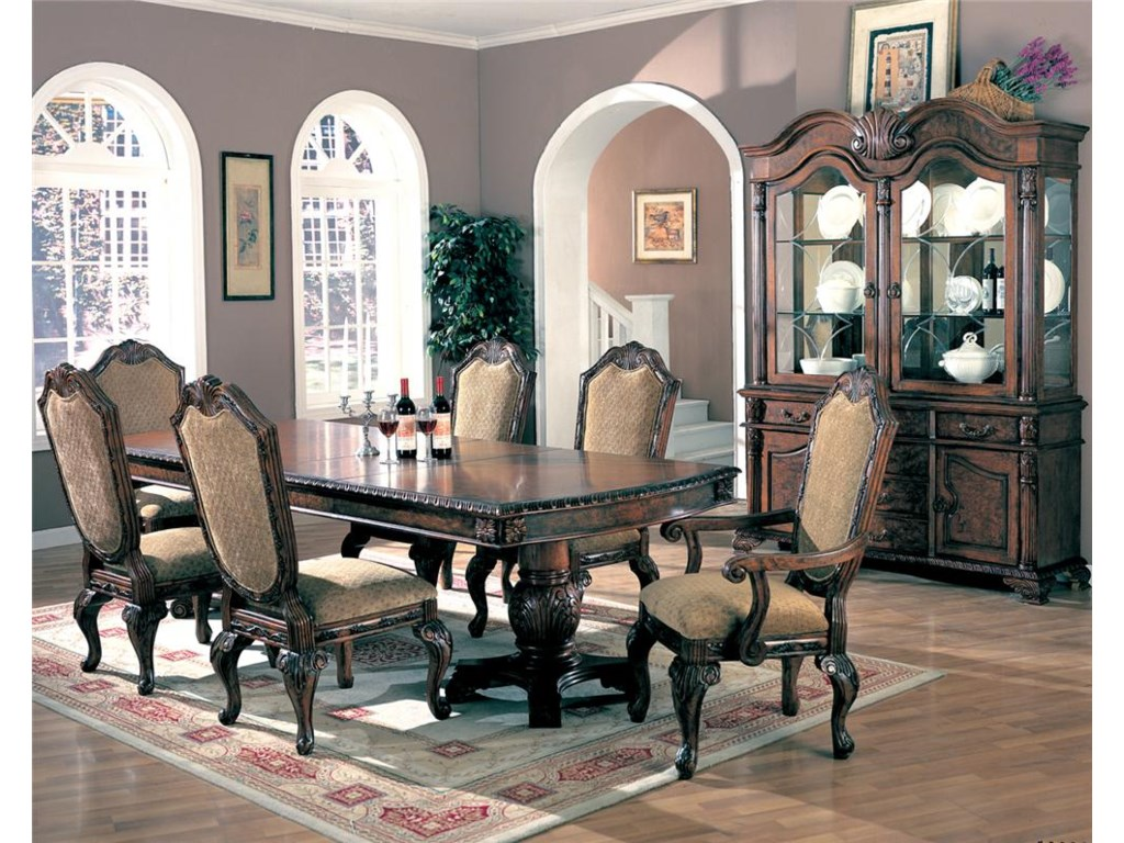 Shown with Dining Table, Side Chairs and Arm Chairs
