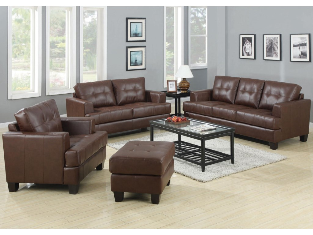 Shown in Room Setting with Chair, Ottoman and Loveseat