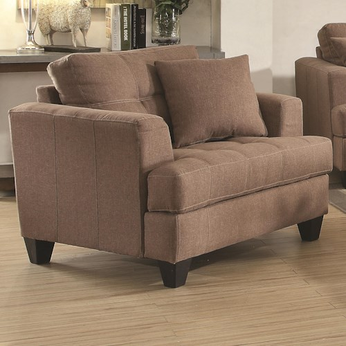 Coaster Samuel Sofa Upholstered Chair with Tufted Cushions