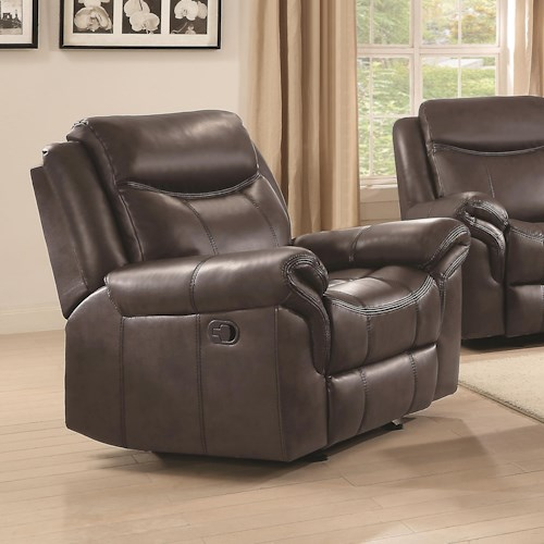 Coaster Sawyer Motion Plush Glider Recliner with Contrast Piping