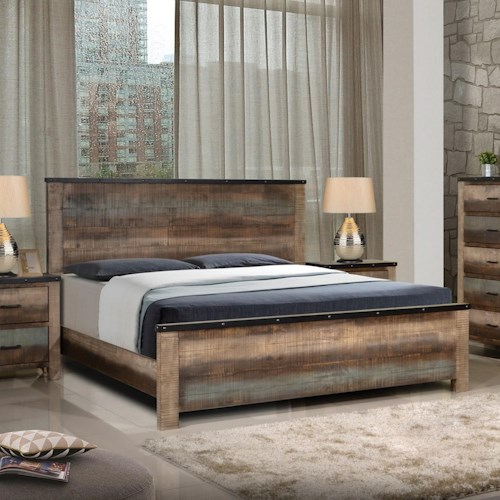 Coaster Sembene Rustic California King Bed With Nailhead Accents Beck 39 S Furniture Panel Beds