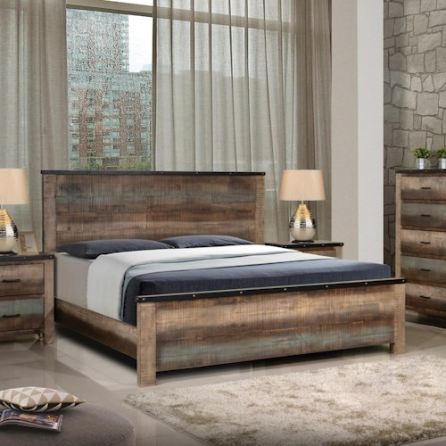 Coaster Sembene Rustic Queen Bed with Nailhead Accents