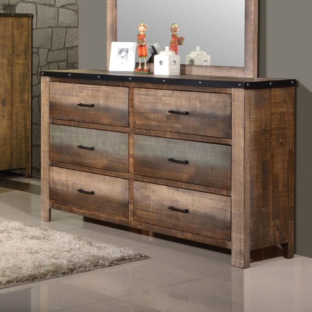 Sembene Rustic Dresser With Six Drawers By Coaster