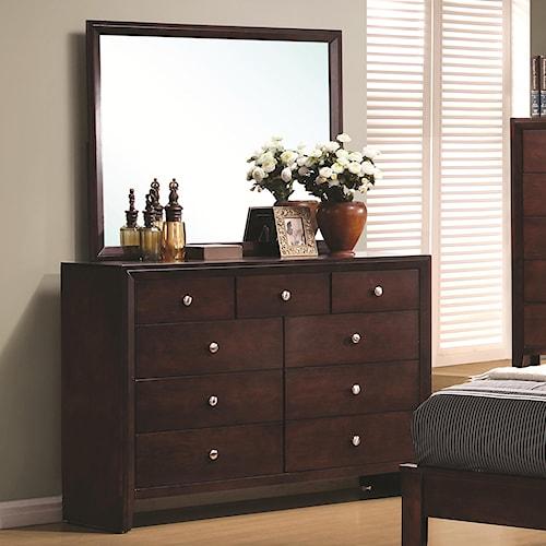 Coaster Serenity  9 Drawer Dresser and Rectangular Mirror Combination
