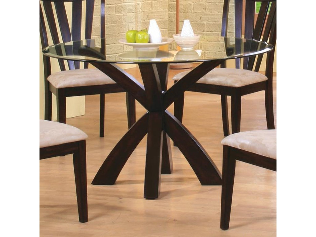 Shoemaker Crossing Pedestal Table Base with Round Beveled Glass Top by  Coaster at Dunk & Bright Furniture