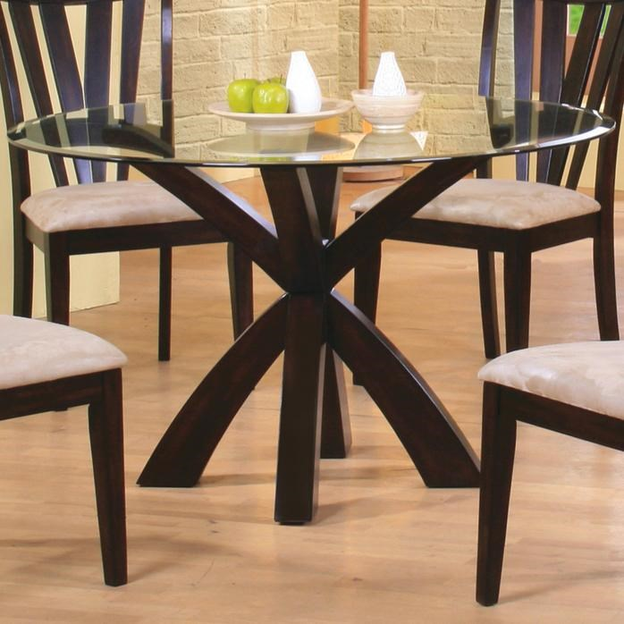 Charmant Coaster ShoemakerTable Base And Round Glass Top ...