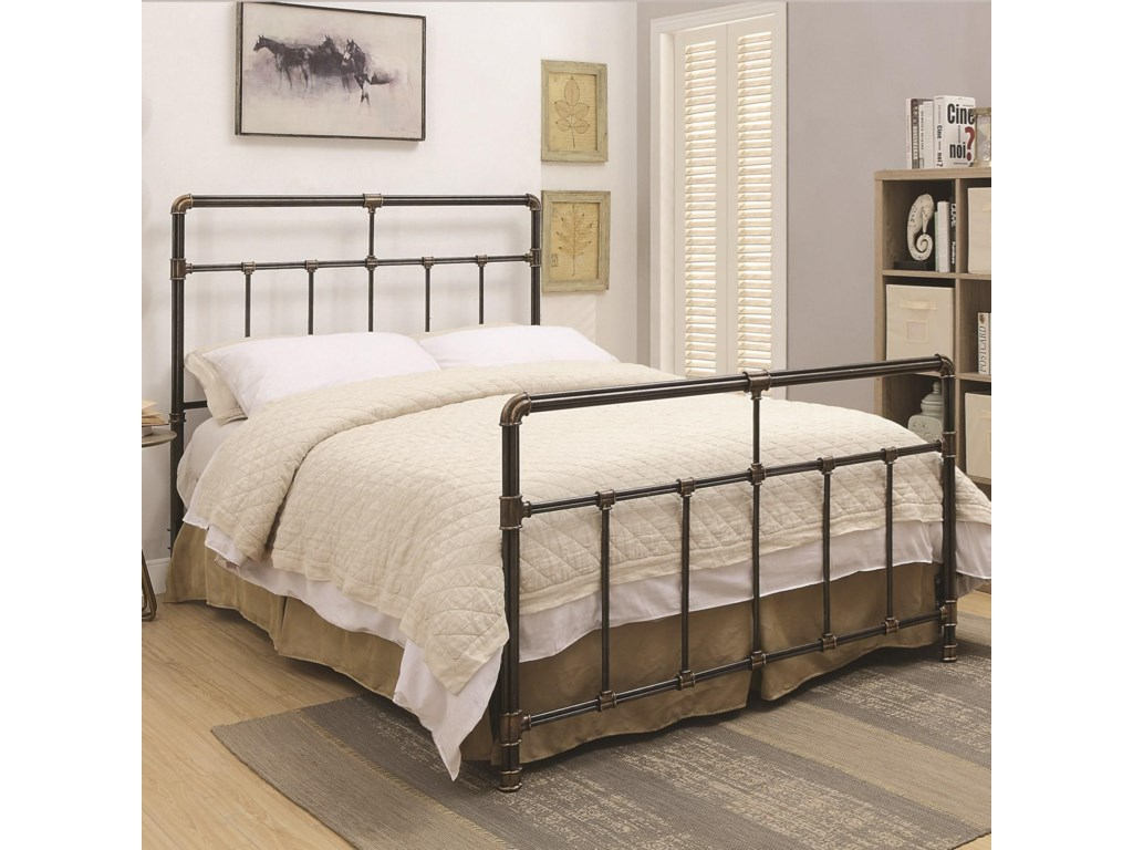 Coaster Silas Metal Full Bed with Antique Brass Accents | Value City ...