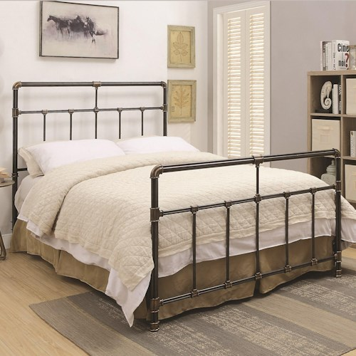 Coaster Silas Metal Twin Bed With Antique Brass Accents Standard