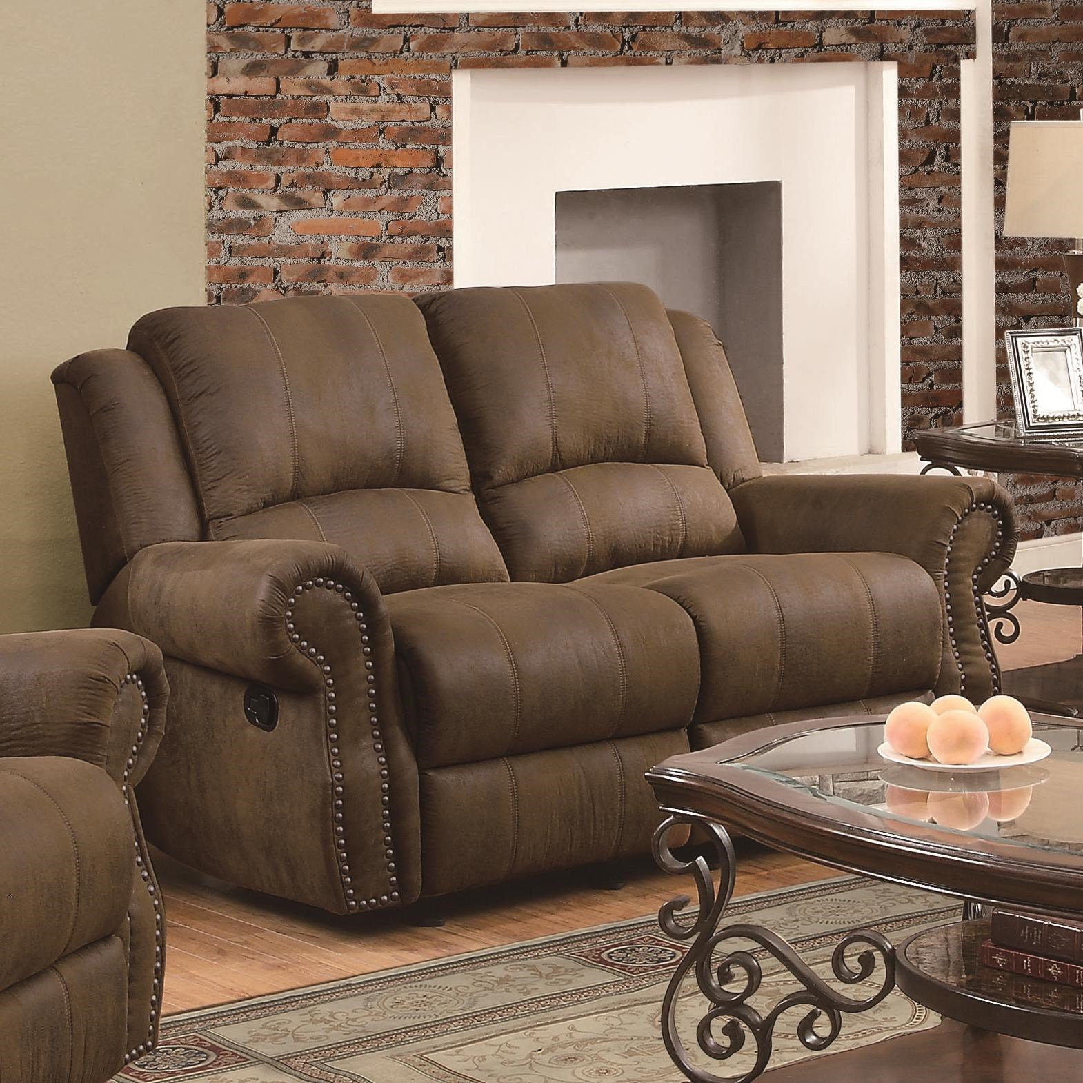 Traditional Gliding Reclining Love Seat with Nailhead Studs