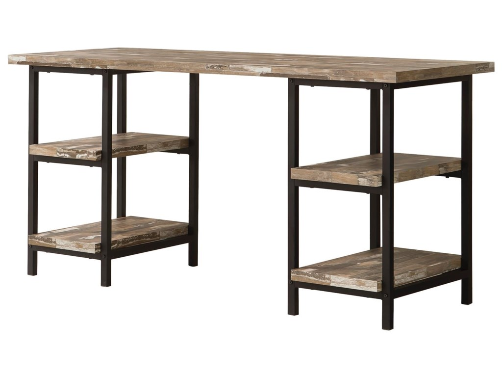 Skelton Modern Rustic Writing Desk with Metal Frame and Distressed Finish  Top & Shelves by Coaster at Value City Furniture
