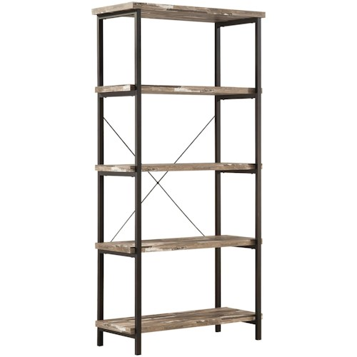 Coaster Skelton Modern Rustic Bookcase with Metal Frame and Distressed Finish Shelves