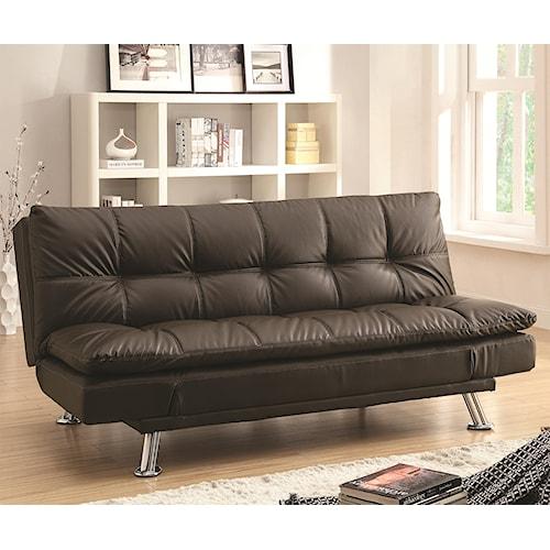 Coaster Dilleston Sofa Bed In Futon Style With Chrome Legs