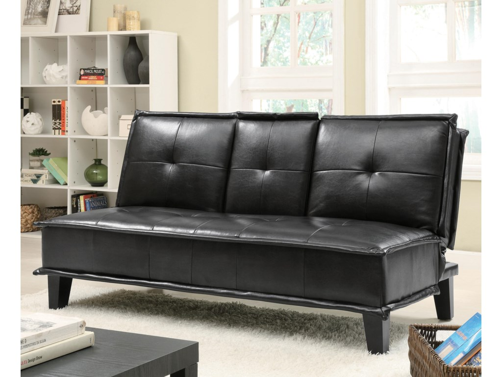 Sofa Beds and Futons Contemporary Black Vinyl Sofa Bed with Drop Down Table  by Coaster at Knight Furniture & Mattress
