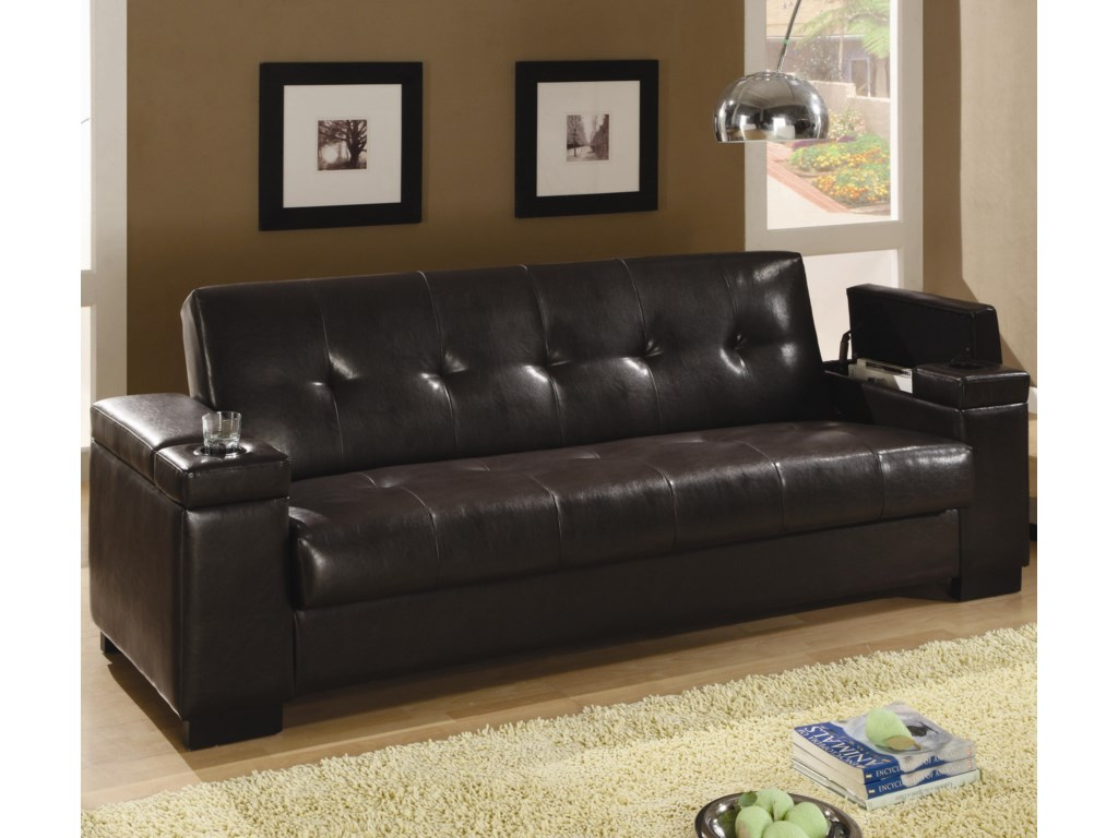Coaster Sofa Beds and Futons 300143 Faux Leather Convertible Sofa ...