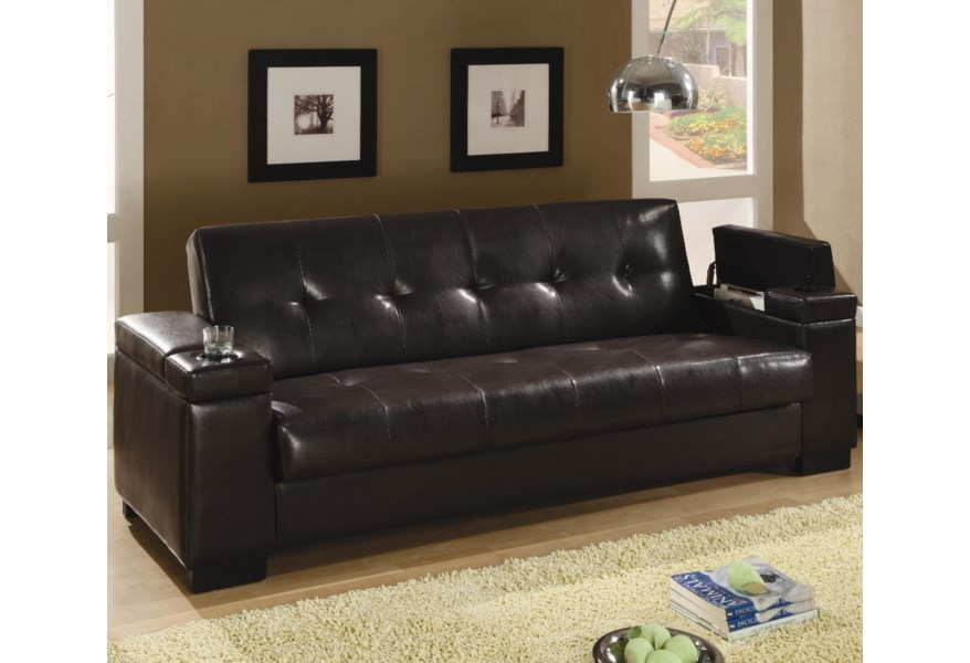 Faux Leather Convertible Sofa Sleeper