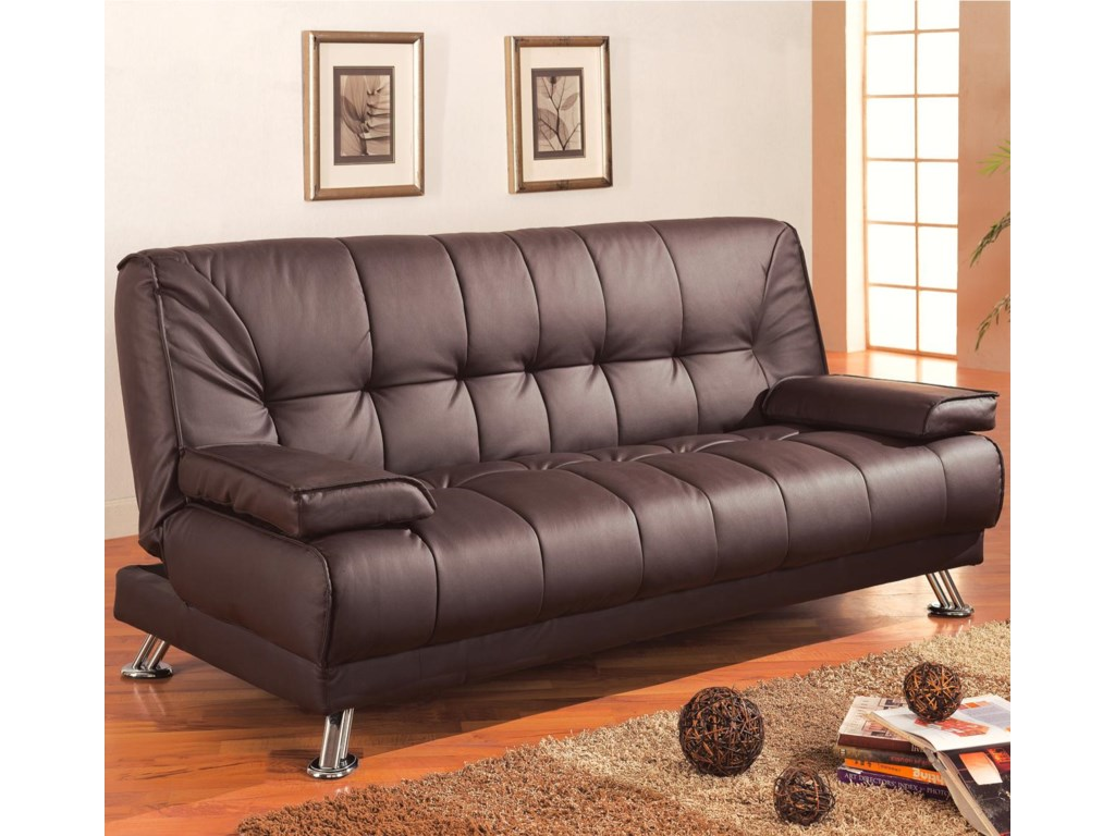 Sofa Beds and Futons Faux Leather Convertible Sofa Bed with Removable  Armrests by Coaster at A1 Furniture & Mattress