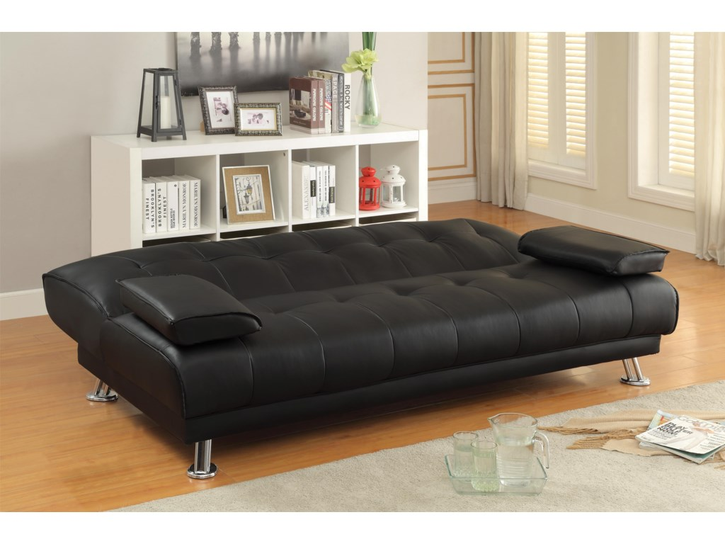Coaster Sofa Beds and Futons 300205 Faux Leather Convertible Sofa ...