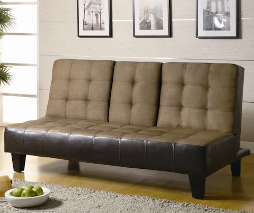Coaster Sofa Beds and Futons Contemporary Two Tone Convertible Sofa Bed with Drop Down Console