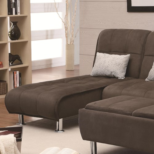 Coaster Sofa Beds and Futons Casual Styled Living Room Chaise Sleeper
