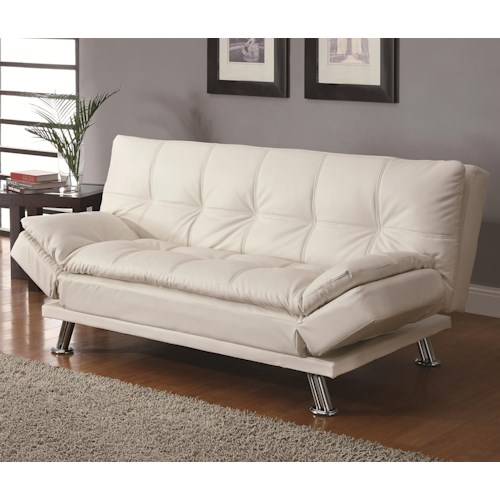 Coaster Sofa Beds and Futons -  Contemporary Styled Futon Sleeper Sofa with Casual Seam Stitching