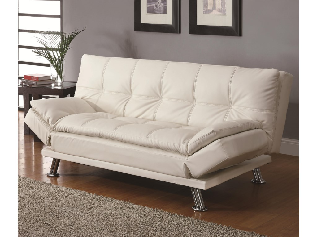 Coaster Sofa Beds And Futons Contemporary Styled Futon Sleeper With Casual Seam Sching