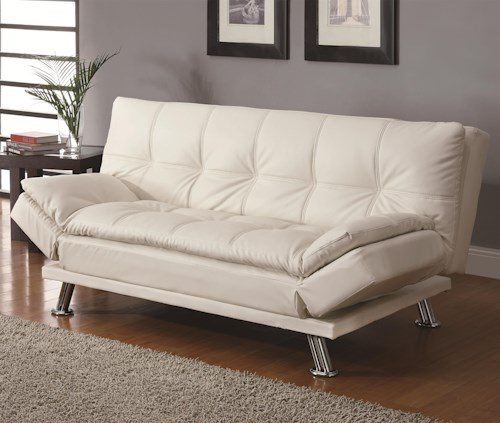 Coaster Sofa Beds and Futons Contemporary Styled Futon Sleeper Sofa with Casual Seam Stitching