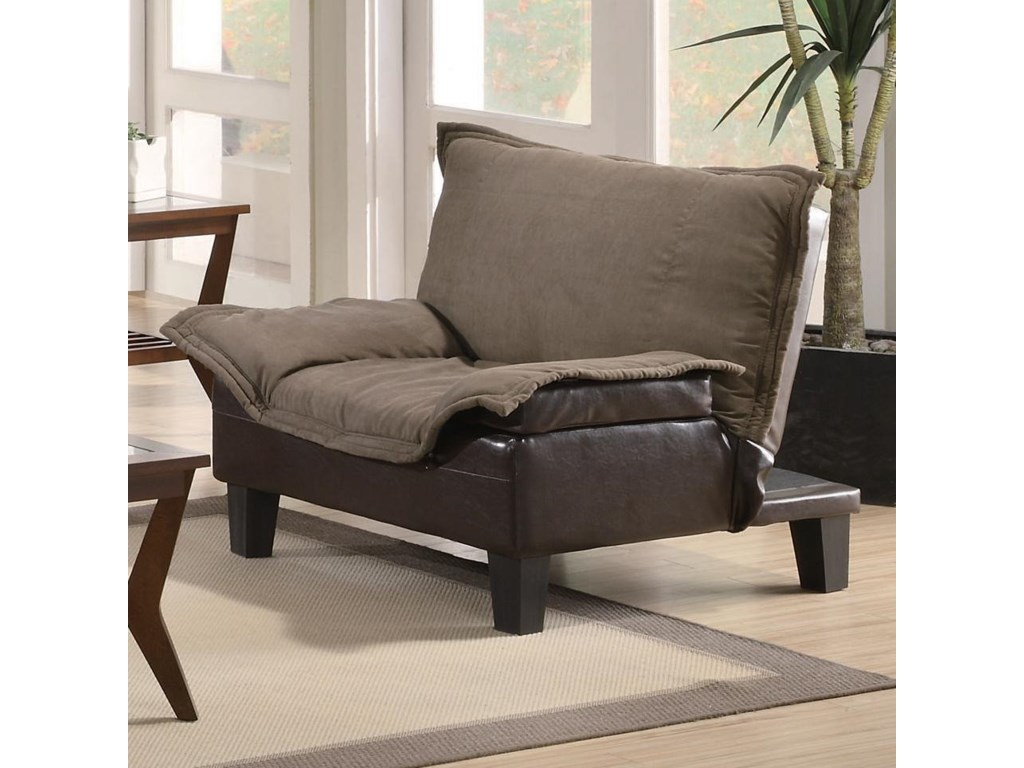 Coaster Sofa Beds And Futons 300303 Ratchet Back Chair Bed In Microfiber Vinyl Lar Furniture Mattress Center Upholstered Chairs