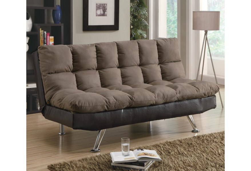 Sofa Beds and Futons Contemporary Brown Microfiber/Dark Brown Vinyl Sofa  Bed by Coaster at Dunk & Bright Furniture