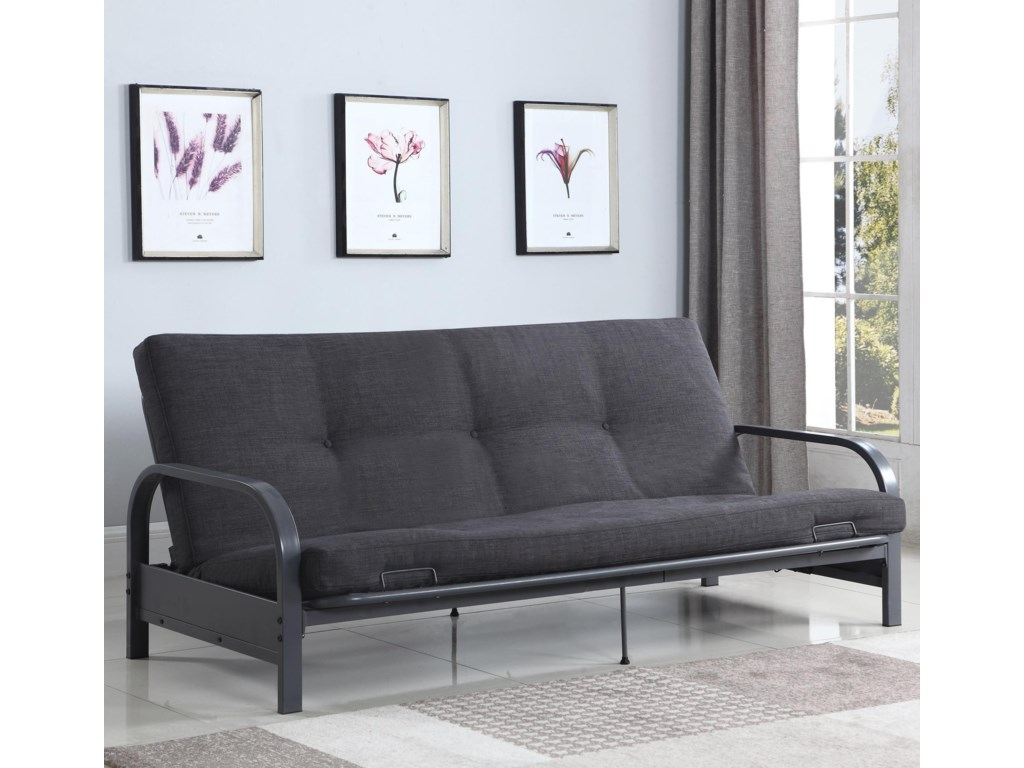 Sofa Beds And Futons Contemporary Futon With Metal Arms Mattress Not Included By Coaster At A1 Furniture