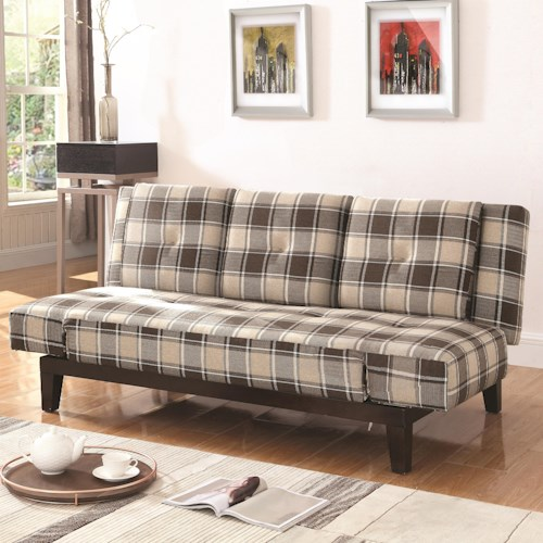 Coaster Sofa Beds And Futons Plaid Convertible With Adjule Arms