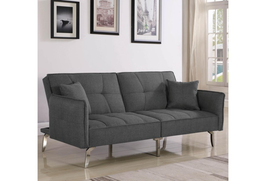 Sofa Beds and Futons Contemporary Convertible Sofa Bed with Split Back and  Metal Legs by Coaster at Dunk & Bright Furniture