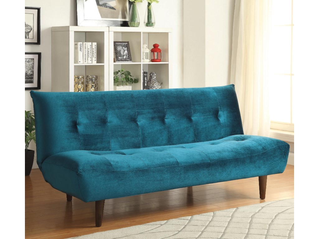 Coaster Sofa Beds and Futons Teal Velvet Sofa Bed with Solid Wood ...