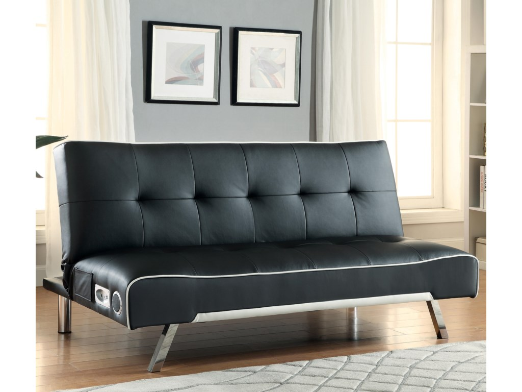 Coaster Sofa Beds and Futons Sofa Bed with Built-In Bluetooth Speakers -  Dunk & Bright Furniture - Futons - Coaster Sofa Beds And Futons Sofa Bed With Built-In Bluetooth